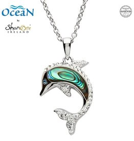 PENDANTS & NECKLACES OCEANS STERLING DOLPHIN PENDANT with ABALONE & SWAROVSKI CRYSTALS
