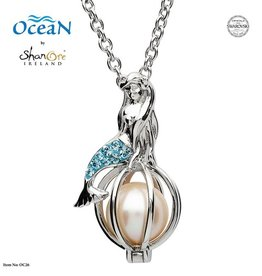 PENDANTS & NECKLACES OCEAN STERLING MERMAID PENDANT with PEARL & SWAROVSKI CRYSTALS