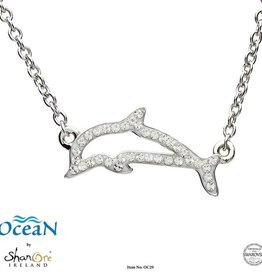 PENDANTS & NECKLACES OCEANS STERLING DOLPHIN NECKLET with SWAROVSKI CRYSTALS