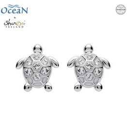EARRINGS OCEANS STERLING MINI TURTLE STUD EARRINGS with SWAROVSKI CRYSTALS
