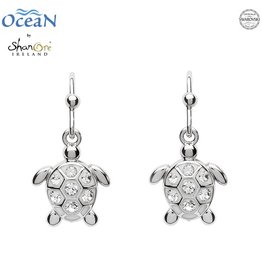 EARRINGS OCEAN STERLING MINI TURTLE DROP EARRINGS with SWAROVSKI CRYSTALS