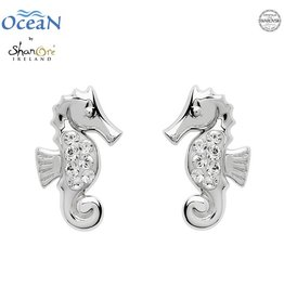 EARRINGS OCEANS STERLING MINI SEAHORSE STUD EARRINGS with SWAROVSKI CRYSTALS
