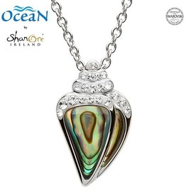 PENDANTS & NECKLACES OCEANS STERLING SHELL PENDANT with ABALONE & SWAROVSKI CRYSTALS