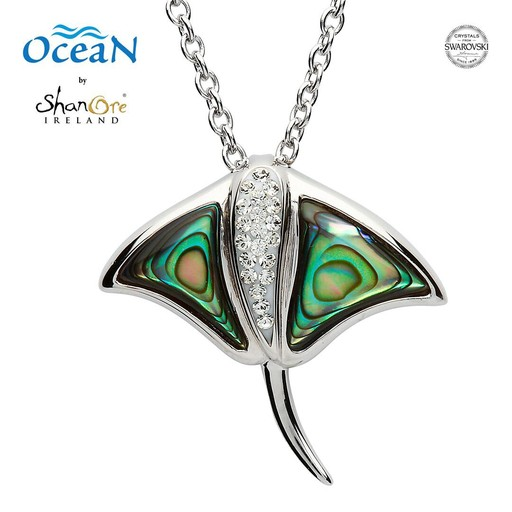 4ef15ce4db7bb6 PENDANTS   NECKLACES OCEANS STERLING RAY PENDANT with ABALONE   SWAROVSKI  CRYSTALS