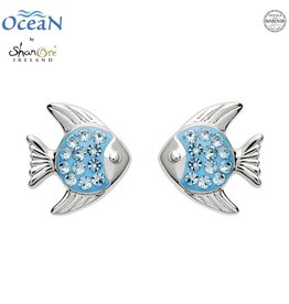 EARRINGS OCEANS STERLING MINI FISH STUD EARRINGS with AQUA SWAROVSKI CRYSTALS