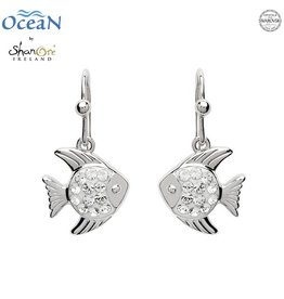 EARRINGS OCEANS STERLING MINI FISH DROP EARRINGS with SWAROVSKI CRYSTALS