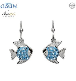 EARRINGS OCEANS STERLING MINI FISH DROP EARRINGS with AQUA SWAROVSKI CRYSTALS