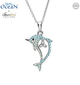 PENDANTS & NECKLACES OCEAN STERLING DOLPHIN PENDANT with TRINITY & SWAROVSKI CRYSTALS