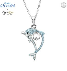 PENDANTS & NECKLACES OCEAN STERLING DOLPHIN PENDANT with CLADDAGH & SWAROVSKI CRYSTALS