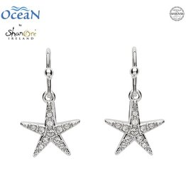 EARRINGS OCEANS STERLING MINI STARFISH DROP EARRINGS with SWAROVSKI CRYSTALS
