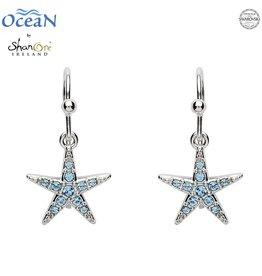 EARRINGS OCEAN STERLING MINI STARFISH DROP EARRINGS with AQUA SWAROVSKI CRYSTALS