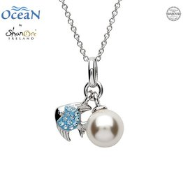 PENDANTS & NECKLACES OCEANS STERLING MINI FISH PENDANT with PEARL & AQUA SWAROVSKI CRYSTALS