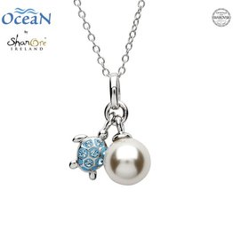 PENDANTS & NECKLACES OCEANS STERLING MINI TURTLE PENDANT with PEARL & AQUA SWAROVSKI CRYSTALS