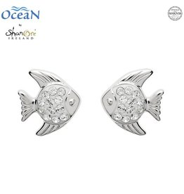 EARRINGS OCEANS STERLING MINI FISH STUD EARRINGS with SWAROVSKI CRYSTALS
