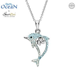 PENDANTS & NECKLACES OCEAN STERLING DOLPHIN PENDANT with SHAMROCK & SWAROVSKI CRYSTALS