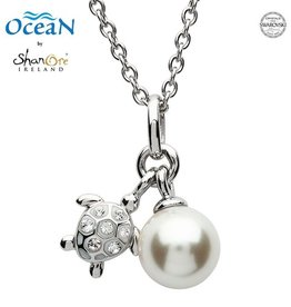 PENDANTS & NECKLACES OCEANS STERLING MINI TURTLE PENDANT with PEARL & SWAROVSKI CRYSTALS
