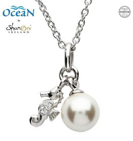 PENDANTS & NECKLACES OCEAN STERLING MINI SEAHORSE PENDANT with PEARL & SWAROVSKI CRYSTALS