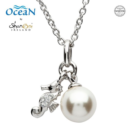 9a47b0db8d42f5 PENDANTS   NECKLACES OCEANS STERLING MINI SEAHORSE PENDANT with PEARL   SWAROVSKI  CRYSTALS