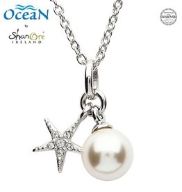 PENDANTS & NECKLACES OCEAN STERLING MINI STARFISH PENDANT with PEARL & SWAROVSKI CRYSTALS