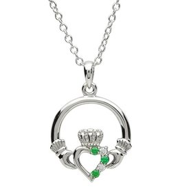 PENDANTS & NECKLACES PlatinumWare HALF STONE SET CLADDAGH PENDANT