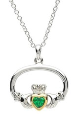 PENDANTS & NECKLACES PlatinumWare GREEN CZ CLADDAGH WITH GOLD PLATE HEART