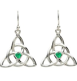 EARRINGS PlatinumWare CELTIC TRINITY with GREEN CZ EARRINGS