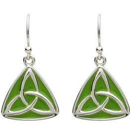 EARRINGS PlatinumWare GREEN ENAMEL TRINITY KNOT EARRINGS