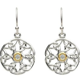 EARRINGS PlatinumWare CELTIC TRINITY STONE SET EARRINGS
