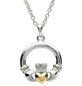 EARRINGS PlatinumWare LARGE CLADDAGH PENDANT WITH GOLD PLATED HEART