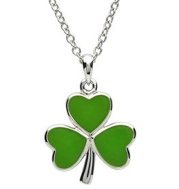 PENDANTS & NECKLACES PlatinumWare LARGE GREEN ENAMEL SHAMROCK PENDANT