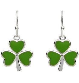 EARRINGS PlatinumWare GREEN ENAMEL SHAMROCK EARRINGS