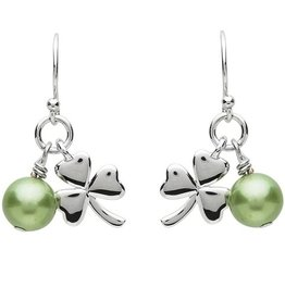 EARRINGS PlatinumWare SHAMROCK & GREEN PEARL EARRINGS