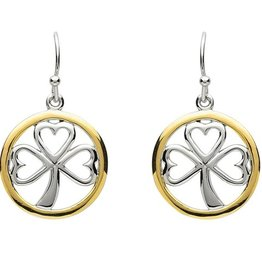 EARRINGS PlatinumWare GOLD PLATE CIRCLE SHAMROCK EARRINGS