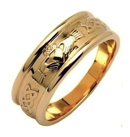 RINGS FADO GENTS CORRIB CLADDAGH WIDE WEDDING RING