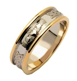 RINGS FADO LADIES TWO TONE CORRIB CLADDAGH WEDDING RING