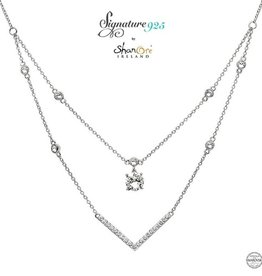 PENDANTS & NECKLACES CLEARANCE - SIGNATURE 925 - DOUBLE NECKLET PENDANT with SWAROVSKI CRYSTALS - FINAL SALE