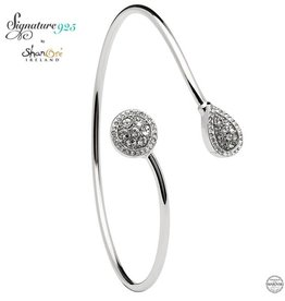 BRACELETS & BANGLES SIGNATURE 925 - HALO ROUND & PEAR BANGLE with SWAROVSKI CRYSTALS