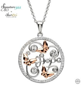 PENDANTS & NECKLACES CLEARANCE - SIGNATURE 925 - BUTTERFLY PENDANT with ROSE GP & SWAROVSKI CRYSTALS - FINAL SALE