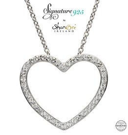 PENDANTS & NECKLACES CLEARANCE - SIGNATURE 925 - HEART PENDANT with SWAROVSKI CRYSTALS - FINAL SALE