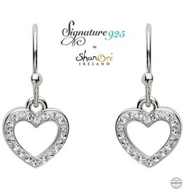 EARRINGS CLEARANCE - SIGNATURE 925 - HEART EARRING with SWAROVSKI CRYSTALS - FINAL SALE