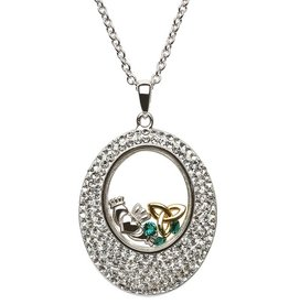 PENDANTS & NECKLACES SHANORE STERLING OVAL WHITE PENDANT with SWAROVSKI CRYSTALS