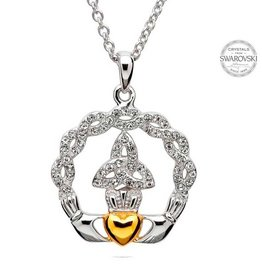 PENDANTS & NECKLACES SHANORE STERLING TRINITY CLADDAGH PENDANT with SWAROVSKI CRYSTALS