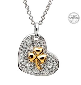 PENDANTS & NECKLACES SHANORE STERLING & GOLD-TONE SHAMROCK PENDANT with SWAROVSKI CRYSTALS
