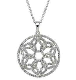 PENDANTS & NECKLACES SHANORE STERLING WHITE TRINITY MEDALLION with SWAROVSKI CRYSTALS