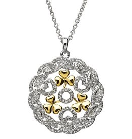 PENDANTS & NECKLACES SHANORE STERLING TWO TONE SHAMROCK MEDALLION with SWAROVSKI CRYSTALS