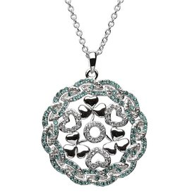 PENDANTS & NECKLACES SHANORE STERLING WHITE & GREEN SHAMROCK MEDALLION with SWAROVSKI CRYSTALS