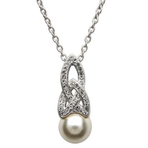 abcb7421010ab PENDANTS & NECKLACES SHANORE STERLING TRINITY PEARL PENDANT with SWAROVSKI  CRYSTALS