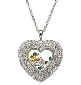 PENDANTS & NECKLACES SHANORE STERLING HEART WHITE PENDANT with SWAROVSKI CRYSTALS