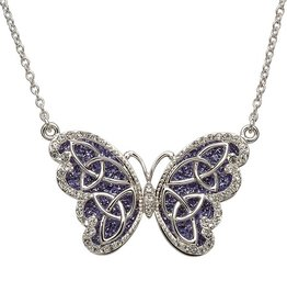 PENDANTS & NECKLACES SHANORE STERLING TANZANITE CELTIC BUTTERFLY PENDANT with SWAROVSKI CRYSTALS