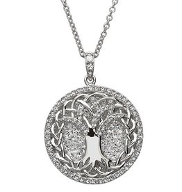 PENDANTS & NECKLACES SHANORE STERLING WHITE TREE OF LIFE PENDANT with SWAROVSKI CRYSTALS